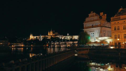 Night time view of Prague, Czech Republic Footage