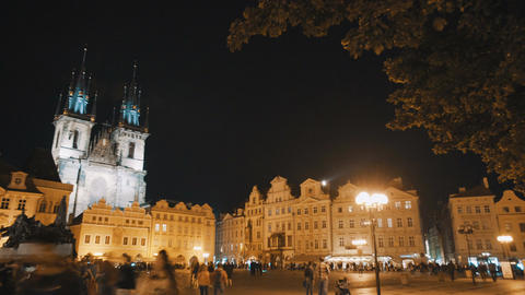 Time lapse of tourists in the central square of Prague, Czech Republic Footage