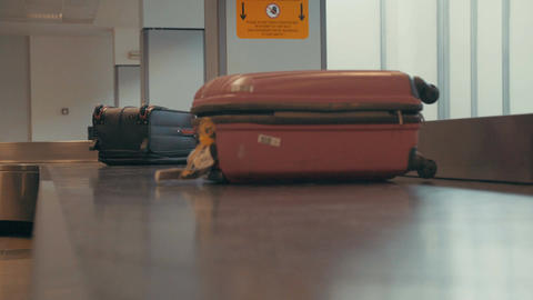 Luggage on a conveyor at the airport Footage