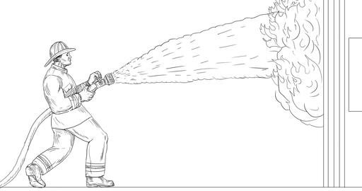 Firefighter Hosing Down House on Fire 2D Animation Animation