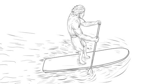 Surfer Dude Stand Up Paddle 2D Animation CG動画素材