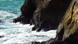 Waves splashing on cliffs Footage