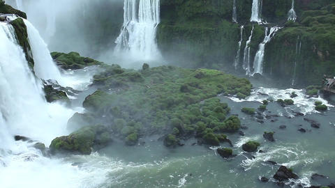 Iguassu Falls, the largest series of waterfalls of the world, view from Brazilia Footage