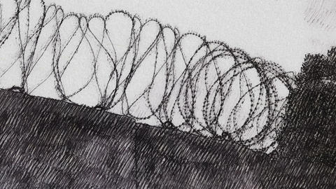 Barbed wire on concrete wall Footage