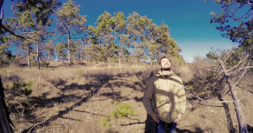 The man is happy and satisfied in the pine forest Footage