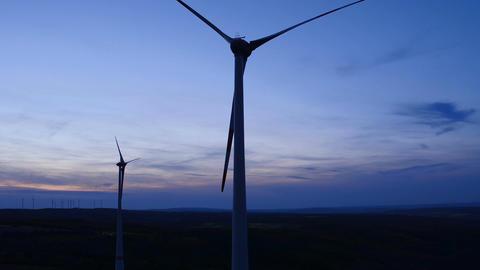 Wind turbines at wind park at dusk Footage