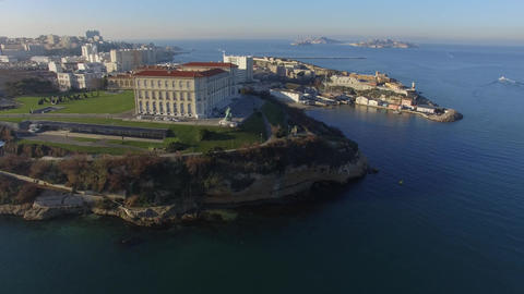 Aerial view of the Palais du Pharo, Marseille, France Live Action