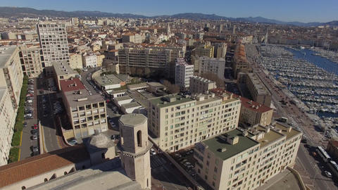 Church St. Lawrence Quarter Shopping and Old Port, filmed by drone, Marseille, F Footage