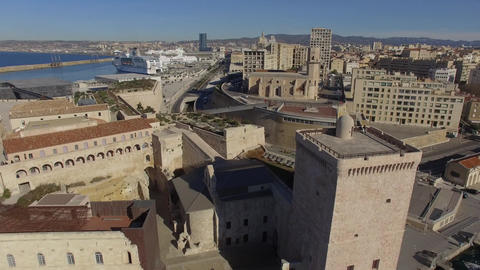 Fort St. John and the Tour Du Roi René with the Port and Mucem, filmed by drone Footage