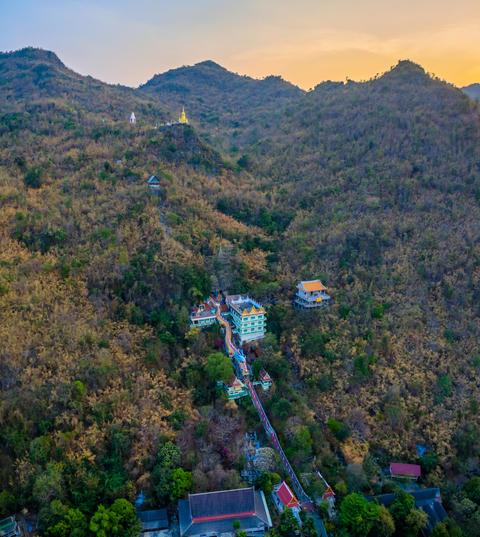 temple around Mae Klong dam Photo