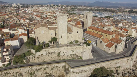 Ramparts of Antibes and Picasso Museum, filmed by drone, France Footage