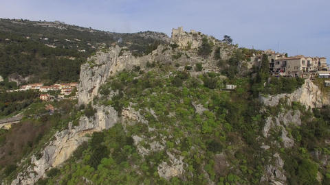 The hilltop village of Eze and its castle, filmed by drone, France Footage