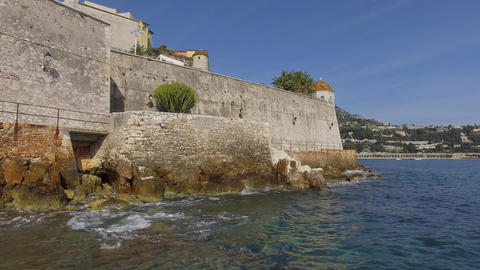 Citadel and Bay of Villefranche-sur-mer, filmed by drone, France Footage