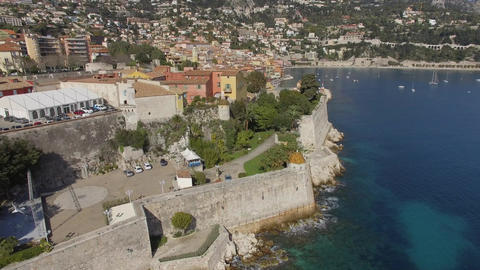 Aerial view of the Citadel and Bay of Villefranche-sur-mer, filmed by drone, Fra Live Action