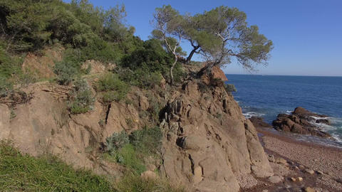 Small beach on the cornice of Esterel, filmed by drone, Saint-Raphael, France Live Action