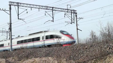 high speed passenger train in motion Footage