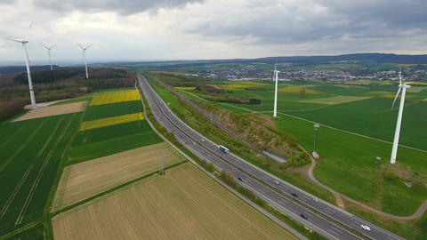 Highway and wind turbines 영상물