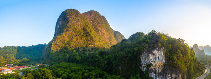 aerial photography Phang Nga city in the morning フォト