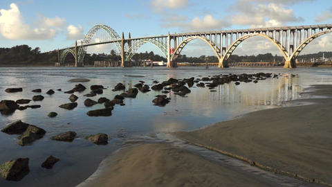 Yaquina Bay Shellfish Preserve Newport Bridge Oregon River Mouth Footage