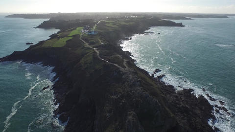 The tip of Grouin, against day Britain, filmed by drone, Cancale, France Footage