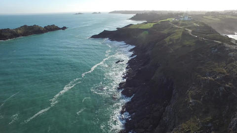 Aerial view by drone with the tip of Grouin near Cancale, Ille et Vilaine, Britt Footage
