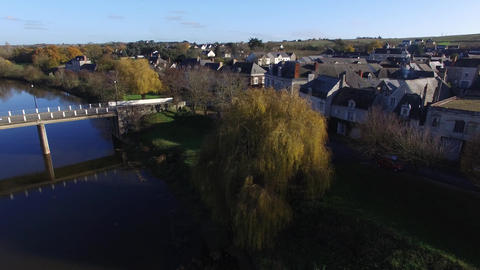 Aerial view by drone of Rochefort sur Loire, France Footage
