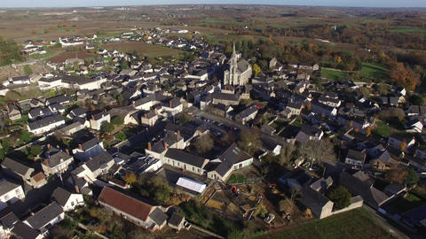 Aerial view by drone of Saint Lambert du Lattay, France Live Action