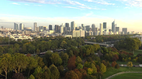 La Defense filmed by drone from the Bois de Boulogne, Paris, France Footage