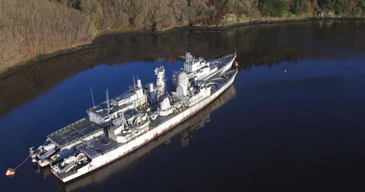 Aerial video by drone cemetery of ships, Landévennec, Rade de Brest, France Footage
