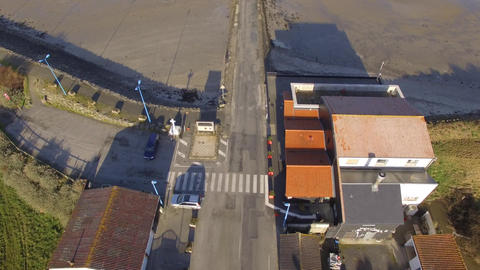 Aerial view by drone of the Passage du Gois high tide Bellevue side in winter, V Live Action