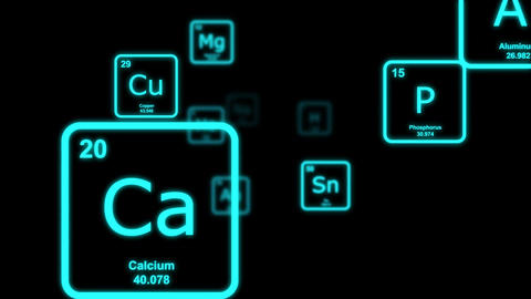 Blue chemical elements floating by on a black background
