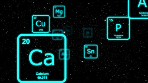 Blue chemical elements floating by on a starscape background Animation