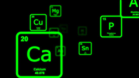 Green chemical elements floating by on a black background Animation