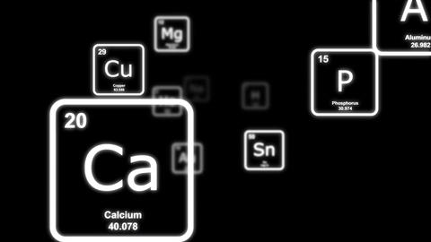 White chemical elements floating by on a black background Animation