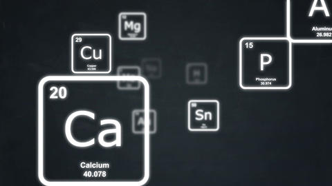 White chemical elements floating by on a blackboard Animation