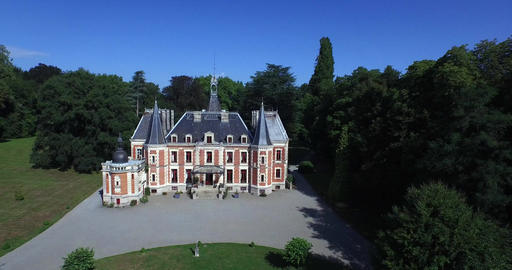 The beautiful castle of Walmath 19th Century and its English park, Saint-Laurent Footage