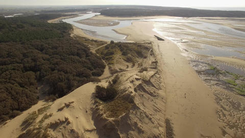Aerial view by drone of the estuary Payré, Veillon beach, Loire Valley, France Footage