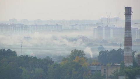 Industrial cityscape, plants causing highly toxic atmospheric pollution, ecology Footage