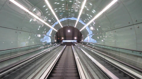 People using escalator to move up and down at underground station, transport Footage