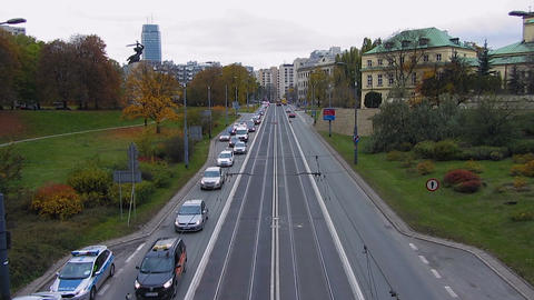 View from bridge on busy traffic on highway that leads to city center, timelapse Footage