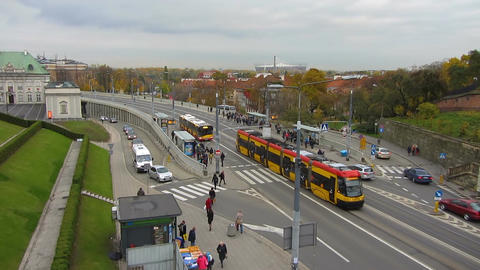 Busy movement of transport and inhabitants on main city street on Monday morning Footage