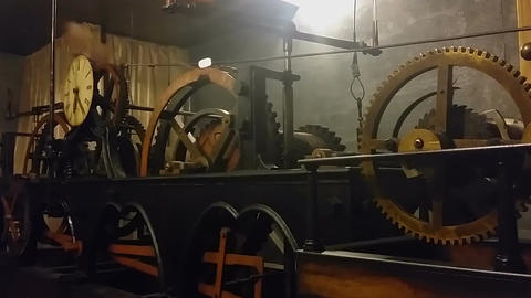 Ancient clock mechanism measuring time at Lviv City Hall, technical progress Footage