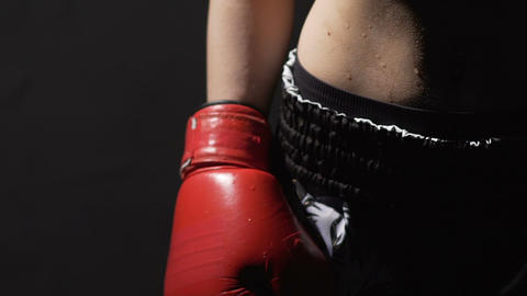 Sweaty woman in boxing gloves after fight, strong lady ready for self-defense Footage