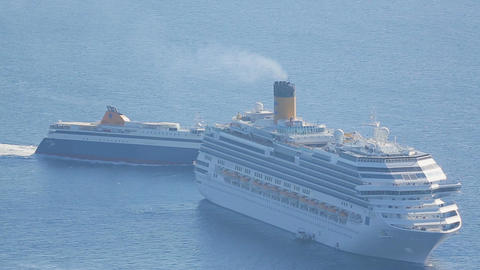 Cruise vessels and ferry entering sea port of tourism city, vacation travel Footage