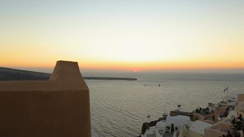 Fantastic sunset seen from Fira town on Santorini island, romantic vacation Footage