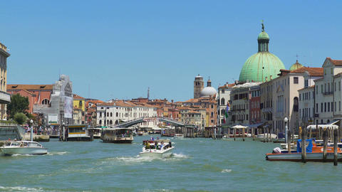 Vaporetto and motorboats moving down Grand Canal in Venice, transportation Footage