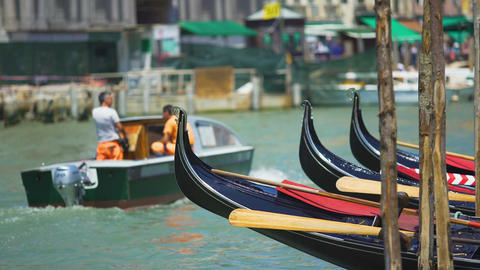Gondola boats floating on water, transportation in Venice, marine city tours Footage