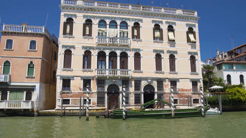 Sightseeing in Venice, boat ride along Grand Canal, view of ancient buildings Footage