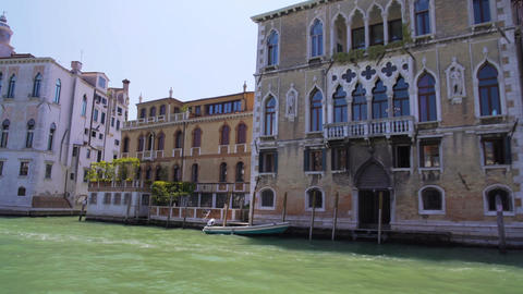 Sightseeing tour to Venice, old architecture along Grand Canal, travel to Italy Footage