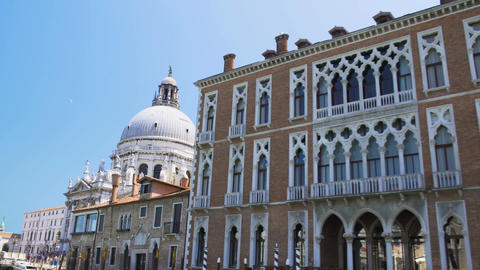 Wonderful view of Santa Maria della Salute church on Grand Canal, Venice tour Footage